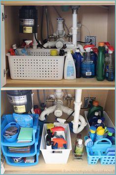 Kitchen Sink Design, Kitchen Sink Faucets, Under Kitchen Sink Organization, Dollar Store Bins, Dollar Stores, Diy Bathroom, Bathroom Storage, Cabinet Storage, Simple Bathroom