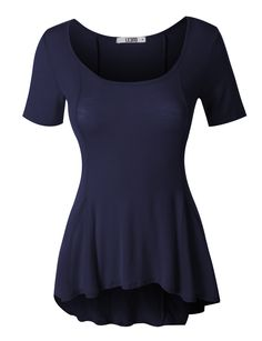 This lightweight short sleeve scoop neck peplum top is perfect to wear day or night. Made of a soft and stretchy material for comfort, this top has a scoop neckline to elongate your upper torso. Add y