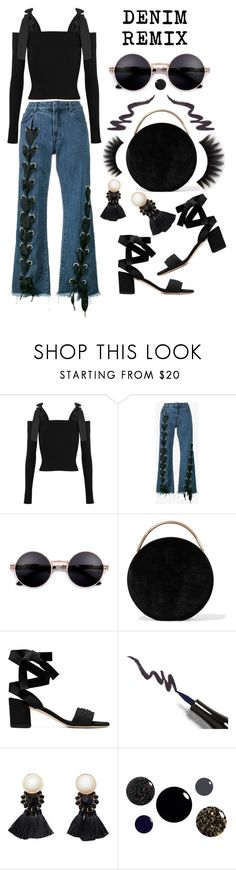 """""""Denim Remix - Fit To Be Tied"""" by latoyacl ❤ liked on Polyvore featuring MSGM, Marques'Almeida, Eddie Borgo and Violeta by Mango"""