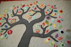 Cute Owl Tree Quilting Art