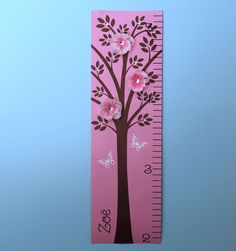 Growth chart on etsy Baby Canvas, Nursery Canvas, Personalized Growth Chart, Baby Girl Nursery Decor, Girl Room, Cute Gifts, Pink Grey, Pink Flowers, Baby Shower Gifts