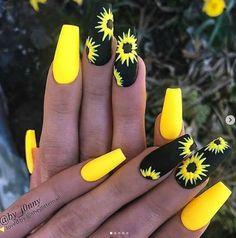 Yellow Nails Design, Yellow Nail Art, Acrylic Nails Yellow, Painted Acrylic Nails, Neon Nail Art, Crazy Nail Art, Acrylic Canvas, Clear Acrylic, Hot Nail Designs