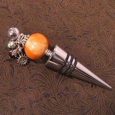 Wine Bottle Stopper Orange Metalic & Sun Charm by JenniferSumner, $18.00