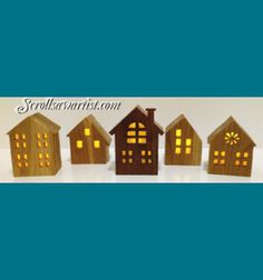Scroll Saw Patterns :: Holidays :: Christmas :: Plaques & other projects :: Five tea light houses -