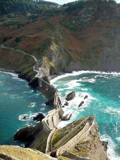 San Juan De Gaztelugatxe, Bakio, Spain - It was pretty high from the top! AMAZING view!!! Well worth the climb!!