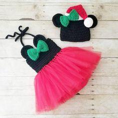 0af0c1172ee Crochet Minnie Mouse Christmas Tutu Dress Santa Hat Set Infant Newborn Baby  Toddler Child Handmade Photography Photo Prop Baby Shower Gift Present
