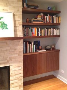 modern built in desk and cabinets | Built-in walnut wood shelves and cabinet - modern - living room ...