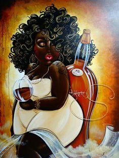 Diamond Embroidery sale Fat Black Girl Diy Diamond Painting Red Wine Full Square Round Africa Beauty Women Mosaic Painting Home Art Decor Black Art Painting, Black Artwork, Black Love Art, Black Girl Art, African American Art, African Art, African Women, Plus Size Art, Creation Photo