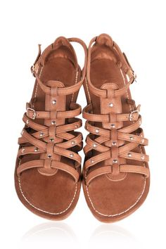 ELF - Leather sandals. Womens flat sandals made of high quality leather.