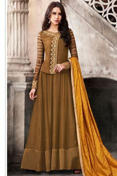 Brown Color Satin Fabric Traditional Style Occasionally Fancy Look Jacket Style Embroidered Party Wear Women Fashion Floor Length Fancy Suit #nakkashi #esteemcollection #anarkalisuit #partywearsuit #weddingseason #floorlenght #salwarsuit #indianbride #bridalweardresses #embroidered #traditionaldress #indianbrideoutfit #festivalfashion #usa #australia #kenya #russia #france #banglore #bangkok