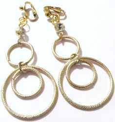 3 1/2 Gold Plated Three Ring Diamond Beaded Hoop Clipson by ADKOR, $5.99