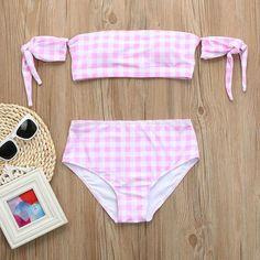 1005588842 Women Push Up Padded Bra Skinny Bikini Plaid Printed Split Suit Beach Bikini