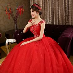 LYGH83H#Wholesale 2017 spring summer new fashion lace Bridal Gown Korean bride wedding dresses plus size wedding dress white Red
