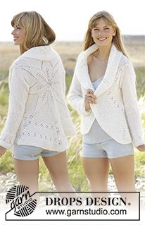 Knitted DROPS jacket worked in a circle with leaf pattern in BabyAlpaca Silk and Kid-Silk. Free pattern by DROPS Design. Knit Cardigan Pattern, Sweater Knitting Patterns, Crochet Cardigan, Knitting Designs, Free Knitting, Crochet Patterns, Gilet Crochet, Crochet Coat, Crochet Clothes