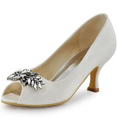 c2e197d9e9 ElegantPark Womens Peep Toe Mid Heel Pumps Rhinestiones Satin Wedding  bridal Shoes White US 8 ** Learn more by visiting the image link.