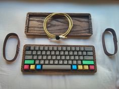 Keyboard: Caps: IMSTO thick pbt dye subbed grey and blue font Modifiers: HolyOOPS aluminum modifiers Case: Datamancer oak case (only available as a group buy through massdrop) Cable: brass usb cable with white shrinkwrap by (/u/CJD_Anthony) Gaming Room Setup, Desk Setup, Keyboard Warrior, Retro Typewriter, Arduino, Computer Keyboard, Hello Computer, Key Caps, Custom Pc