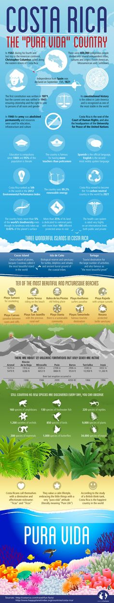 Don't know about Costa Rica? Here's an infographic to help give you a little insight into The Pura Vida Country. Voyage Costa Rica, Costa Rica Travel, Monteverde, Tamarindo, Enjoy Your Vacation, Vacation Spots, Wild Life, Oh The Places You'll Go, Places To Travel