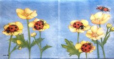 Rare Set of 2(two) Ladies Mol napkins flowers/Ladybirds for collectie decoupage,decoupage under glass,scrapbooking and other art door Dalilasdecoupage op Etsy