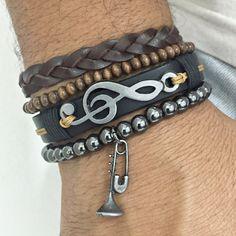 Kit 4 Pulseiras Masculinas Couro Clave Sol Trompete mens bracelets fashion style cocar brasil