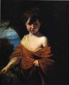 Boy Holding a Bunch of Grapes - Joshua Reynolds