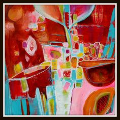Large Contemporary Abstract Geometric Floral by Jodi by Jodi Ohl      Affordable large scale art!  30 x 30
