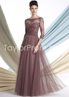 A-line/Princess High Neck 3/4 Sleeves Floor-length Lace Mother Of The Bride Dress