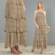 Vtg Metallic Crochet Scallop Lace Tier Fringe Deco Hippy Boho Wedding Maxi Dress
