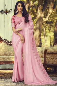 Online Shopping of Pink Color Party Style Art Silk Fabric Trendy Saree With Embroidered Blouse from SareesBazaar, leading online ethnic clothing store offering latest collection of sarees, salwar suits, lehengas & kurtis Chiffon Saree, Georgette Sarees, Chiffon Fabric, Silk Fabric, Indian Designer Sarees, Trendy Sarees, Light Pink Color, Art Silk Sarees, Traditional Sarees