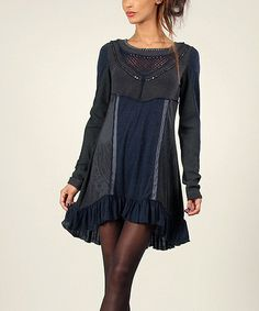Another great find on #zulily! Navy & Anthracite Lace Sequin Hi-Low Dress by Angels Never Die #zulilyfinds