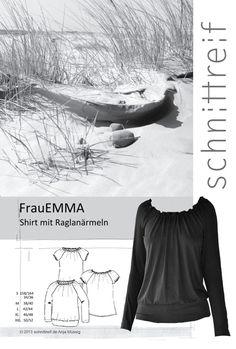 FrauEmma – ein Raglanschnitt fürs ganz Jahr  SCHNITTMUSTERBOGEN     FrauEmma ist ein bequemes, locker fallendes *Raglanshirt* mit Gummizug im Halsloch und breitem Saumbündchen. Zur Auswahl...