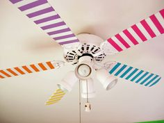 Decorate a ceiling fan. | 56 Adorable Ways To Decorate With WashiTape