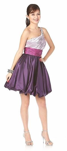 Above Knee Lilac Homecoming Bubble Dress One Shoulder Empire $124.99