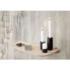 Wood Wall is an exciting new shelf with leather straps. Contemporary and elegant, it fits perfectly in most settings. By virtue of its simplicity and fine design, it can be used in any room – in the hall, bathroom, kitchen and living room Small Furniture, Wood Furniture, Wooden Shelves, Solid Oak, Decoration, Candle Sconces, Innovation, Candle Holders, Wall Lights