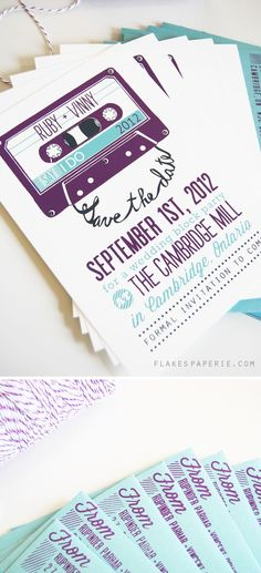 """Mixtape save the date - best hipster wedding invitation ever?"" I'd love to begin designing post cards and note cards of this nature"