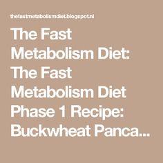 The Fast Metabolism Diet: The Fast Metabolism Diet Phase 1 Recipe: Buckwheat Pancake