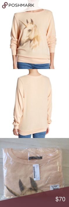 Wildfox Unicorn Dream Long Sleeve Peachfuzz Top S Wildfox Unicorn Dream women's top. Color is called peach fuzz. This is a soft fleecy top. New in package but there are no tags. Super cute! Size small. Wildfox Tops Sweatshirts & Hoodies