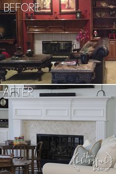 Fireplace before and after | The Blissful Bee - I love the herringbone pattern with the marble subway tiles!!