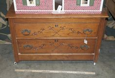 VINTAGE TWO DRAWER RUSTIC LOW CABINET AND OR TRUNK ON CASTORS MATCHES LOT NUMBER 11848. MEASURES 40 X 18 X 25.