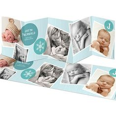 Holiday Winter Birth Announcements -- Photo Storybook for a Boy