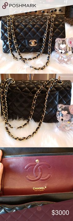 eaeb9c99f6fc Chanel Classic Small Double Flap Bag Small black quilted lambskin classic  double flap bag with gold