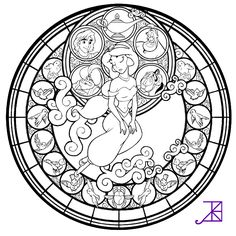 Jasmine Stained Glass. Free Coloring Page