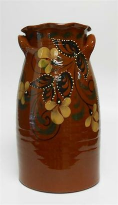 """Eldreth Pottery - 12.5"""" Redware Crock with Handles, Fluted Rim and Repeating Florals (one of a kind)"""