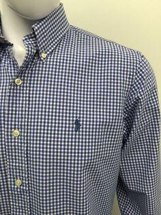#RALPHLAUREN Mens Shirt Medium CUSTOM FIT Blue White GINGHAM CHECKED Cotton #CHEAP #DESIGNER #FASHION #MENSWEAR #MENSTYLE #MACMENSWEAR #MENSCLOTHING #MENSFASHION