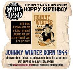 Today in Blues History.... Johnny Winter is Born Feb 23, 1944 www.mojohand.com Like my page to keep up on what happens each day in Blues History! https://www.facebook.com/todayinblueshistory