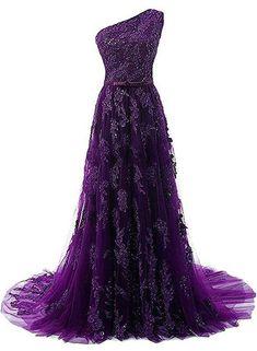 f9095305b42 Dark Purple One Shoulder Lace Applique Prom Dress 2019