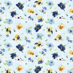Wilmington Prints Walking on Sunshine Light Blue Tossed Pansies | Fabric