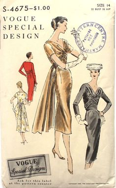 VSD S-4675 Dress 1956 B32 a fitted sheath dress with a cross-over draped bodice. uncut unused sld 75+5 bin 10/21/16
