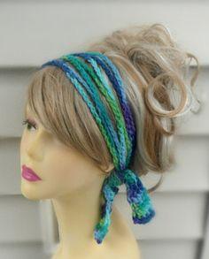 Crochet Boho Hairband Chain Hairband by knottycreationsbyET, $12.00