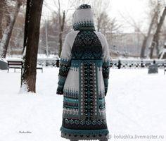 Верхняя одежда ручной работы. Пальто в оттенках серого с бирюзой. Лена Статкевич. Ярмарка Мастеров. Пальто на весну, металлические кнопки Crochet Coat, Long Sweaters, Camouflage, Knitwear, Knitting Patterns, Cardigans, Cover, Design, Military Camouflage