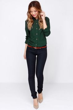 Obey Cadet Forest Green Button-Up Top at Lulus.com! ((I want a hunter green  button up so badly!)) b381e7497